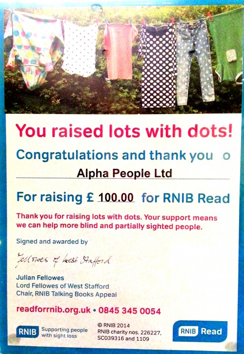 We have raised £100 in total for the RNIB!